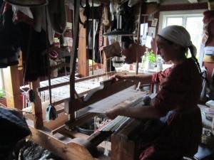 Jenne Hampe Endressen works the loom at her Vilje, Norway off-grid farm.