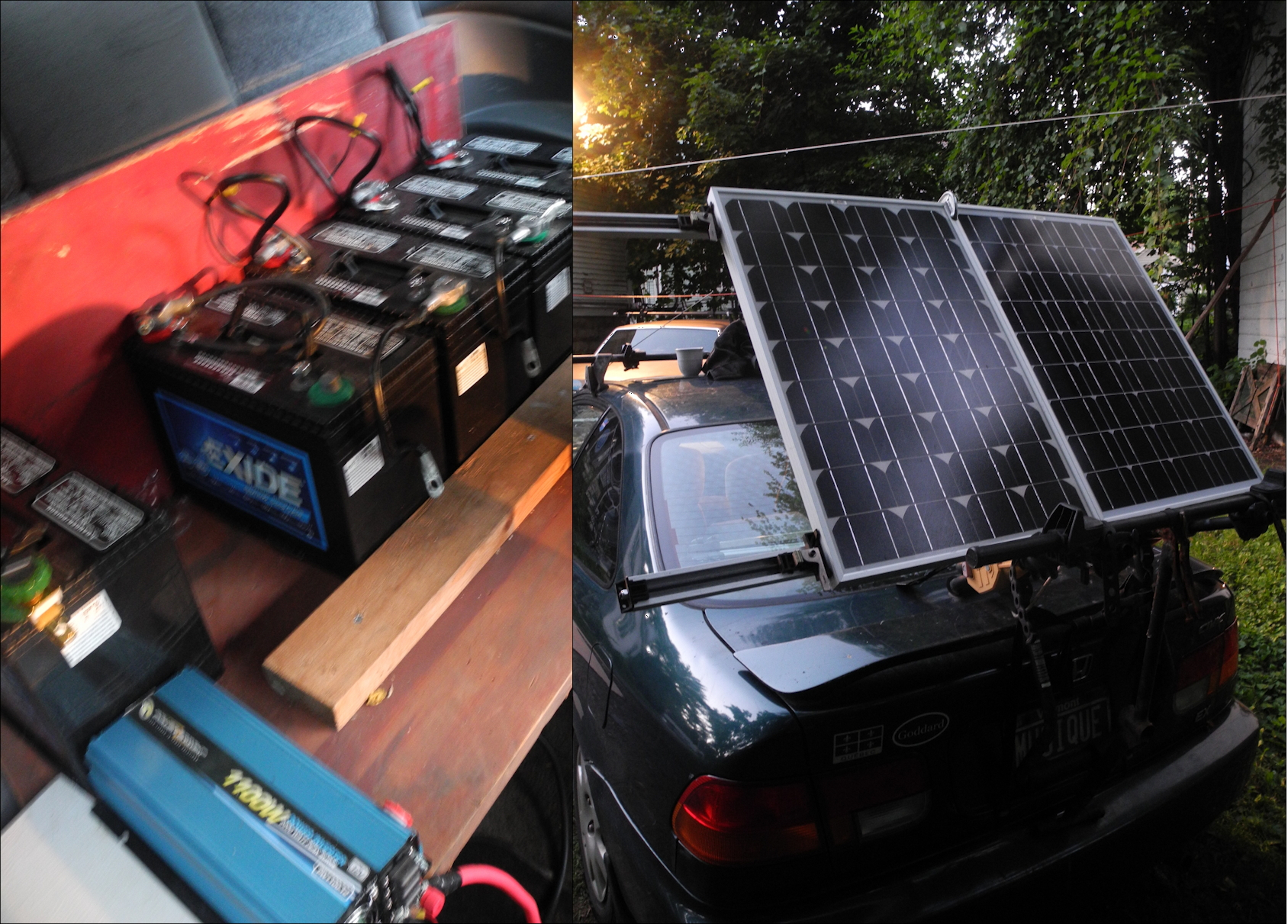 500 AmpHr battery bank with 250W panel bank, mounted on Honda Civic